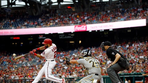 <p>               Washington Nationals' Adam Eaton, left, hits a solo home run in front of Pittsburgh Pirates catcher Francisco Cervelli, center, and umpire Nic Lentz in the eighth inning of a baseball game, Saturday, April 13, 2019, in Washington. (AP Photo/Patrick Semansky)             </p>