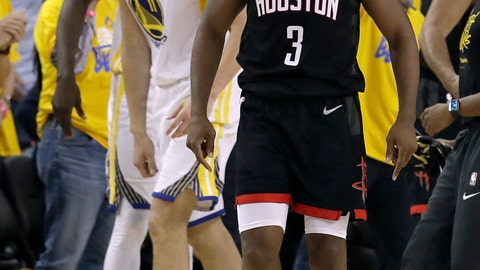 <p>               Golden State Warriors guard Klay Thompson, left, smiles as Houston Rockets guard Chris Paul (3) is ejected during the second half of Game 1 of a second-round NBA basketball playoff series in Oakland, Calif., Sunday, April 28, 2019. (AP Photo/Jeff Chiu)             </p>
