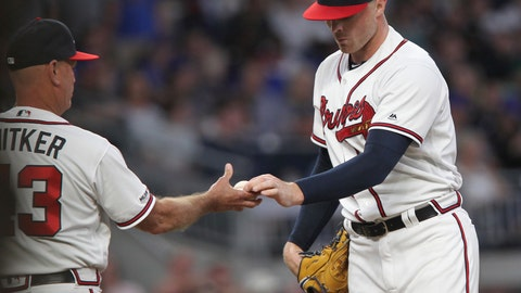 <p>               Atlanta Braves' Sean Newcomb is pulled by manager Brian Snitker during the second inning against the New York Mets in a baseball game Saturday, April 13, 2019, in Atlanta. (AP Photo/Tami Chappell)             </p>