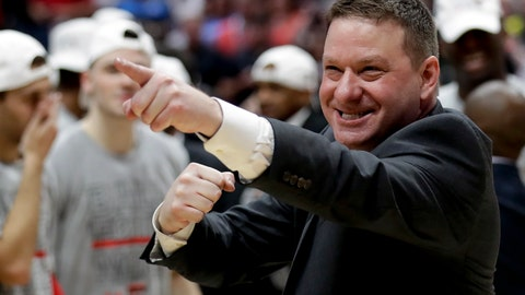 <p>               FILE - In this March 30, 2019, file photo, Texas Tech head coach Chris Beard celebrates after the team's win against Gonzaga during the West Regional final in the NCAA men's college basketball tournament, in Anaheim, Calif. Beard was named The Associated Press Coach of the Year, Thursday, April 4, 2019. (AP Photo/Marcio Jose Sanchez, File)             </p>