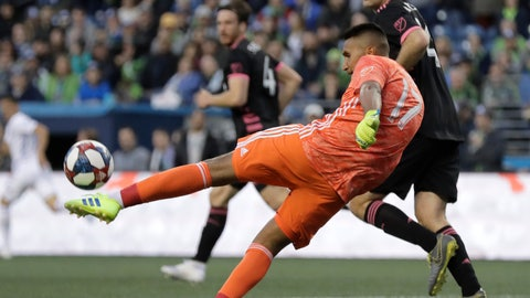 <p>               San Jose Earthquakes goalkeeper Daniel Vega makes a drop kick near Seattle Sounders defender Chad Marshall during the first half of an MLS soccer match, Wednesday, April 24, 2019, in Seattle. (AP Photo/Ted S. Warren)             </p>