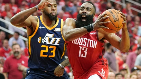 <p>               Houston Rockets guard James Harden (13) drives against Utah Jazz forward Royce O'Neale (23) during the first half of Game 2 of a first-round NBA basketball playoff series in Houston, Wednesday, April 17, 2019. (AP Photo/David J. Phillip)             </p>