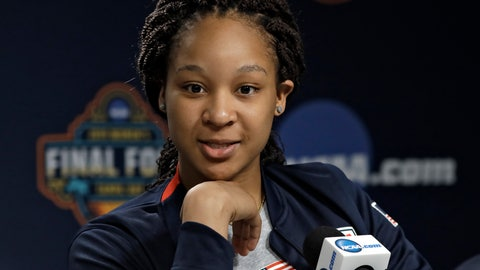 <p>               In this Thursday April 4, 2019, photo, Maori Davenport answers a question during a news conference in Tampa, Fla. Davenport is back playing basketball again. The Alabama high school senior is at the Final Four working out with the U.S. junior national 3-on-3 team. (AP Photo/Chris O'Meara)             </p>