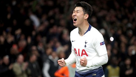 <p>               Tottenham Hotspur's Son Heung-min celebrates scoring his side's first goal of the game during the  Champions League quarter final, first leg match against Manchester City at Tottenham Hotspur Stadium, London, Tuesday April 9, 2019. (Adam Davy/PA via AP)             </p>