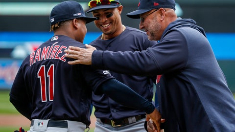 <p>               Cleveland Indians manager Terry Francona, right, greets Jose Ramirez (11) with Leonys Martin (2) during introductions at a baseball game with the Minnesota Twins Thursday, March 28, 2019, in Minneapolis. (AP Photo/Bruce Kluckhohn)             </p>