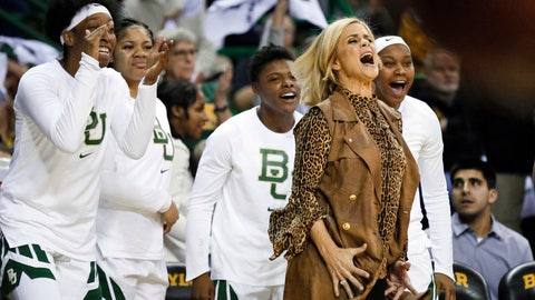 <p>               FILE - In this Jan. 3, 2019, file photo, Baylor head coach Kim Mulkey reacts in front of the bench to a blocked shot during an NCAA college basketball game against Connecticut in Waco, Texas. These Lady Bears certainly know how to win, and they're having fun all the way to their first women's NCAA Final Four since 2012.  (AP Photo/Ray Carlin, File)             </p>