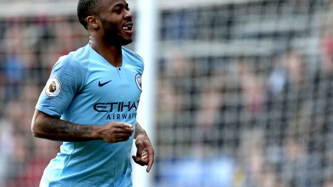 <p>               Manchester City's Raheem Sterling celebrates scoring his side's second goal of the game against Crystal Palace, during their English Premier League soccer match at Selhurst Park in London, Sunday April 14, 2019. (Steven Paston/PA via AP)             </p>