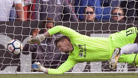<p>               FILE - In this file photo dated Saturday Aug. 26, 2017, Crystal Palace's keeper Wayne Hennessey in action during the English Premier League soccer match against Swansea City at Selhurst Park in London.  Goalkeeper Hennessey has been criticized by a disciplinary panel Tuesday April 16, 2019, for his lack of knowledge about fascism and Adolf Hitler.(AP Photo/Tim Ireland, FILE)             </p>