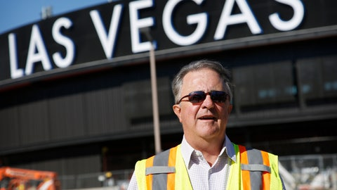 <p>               In this, March 28, 2019, photo, Don Logan, president of the Las Vegas Aviators, stands in front of a new baseball park in Las Vegas. Logan spent years trying to get a new minor league ballpark in this gambling city. (AP Photo/John Locher)             </p>