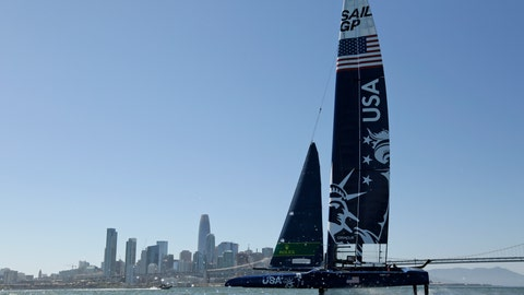 <p>               The U.S. team F50 foiling catamaran trains with the skyline in the distance after its launch Monday, April 22, 2019, in San Francisco. New global sports league SailGP launched the first of six F50 race boats into San Francisco Bay that will compete May 4-5. The catamaran is capable of hitting speeds of 60 miles per hour. (AP Photo/Eric Risberg)             </p>