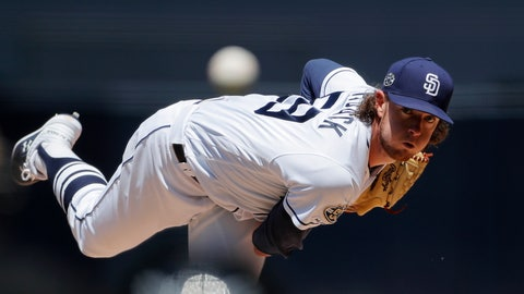 <p>               San Diego Padres starting pitcher Chris Paddack works against a Seattle Mariners batter during the first inning of a baseball game Wednesday, April 24, 2019, in San Diego. (AP Photo/Gregory Bull)             </p>