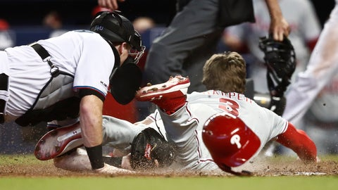 <p>               Miami Marlins catcher Chad Wallach, left, tags out Philadelphia Phillies' Bryce Harper (3) at home plate during the sixth inning of a baseball game Sunday, April 14, 2019, in Miami. (AP Photo/Brynn Anderson)             </p>