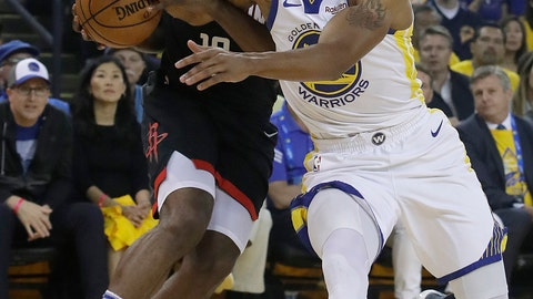 <p>               Houston Rockets guard James Harden, left, is fouled by Golden State Warriors guard Andre Iguodala during the first half of Game 1 of a second-round NBA basketball playoff series in Oakland, Calif., Sunday, April 28, 2019. (AP Photo/Jeff Chiu)             </p>