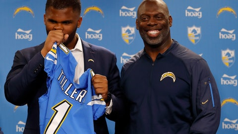 <p>               Los Angeles Chargers NFL football defensive tackle Jerry Tillery, left, suppresses a laugh as he talks with head coach Anthony Lynn, right, during a news conference at Chargers headquarters Friday, April 26, 2019, in Costa Mesa, Calif. The Notre Dame defensive tackle was drafted by the Chargers in the first round Thursday. AP Photo/Gregory Bull)             </p>