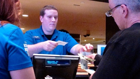 <p>               In this March 8, 2019 photo, a gambler makes a sports bet at the Tropicana casino in Atlantic City N.J. Figures released on Friday, April 12, 2019, show gamblers bet $372.4 million on sports in New Jersey in March, the second-highest monthly total ever, with the March Madness tournament accounting for a significant part of the wagering. (AP Photo/Wayne Parry)             </p>