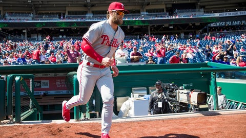 <p>               Philadelphia Phillies' Bryce Harper jogs onto the field before a baseball game against the Washington Nationals at Nationals Park, Wednesday, April 3, 2019, in Washington. (AP Photo/Alex Brandon)             </p>
