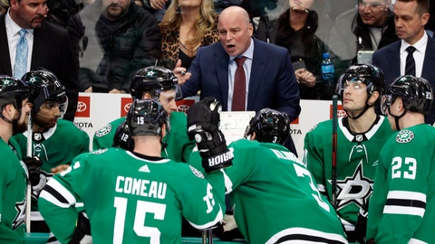 <p>               In this Jan. 30, 2019, photo, Dallas Stars head coach Jim Montgomery, center, instructs the team during a timeout of an NHL hockey game against the Buffalo Sabres in Dallas. Montgomery jumped right into the NHL from college coaching with the Stars, joining a team with immediate playoff expectations and finding himself in the middle of an unexpected drama after the surprising midseason rip job on star players Jamie Benn and Tyler Seguin by the CEO. The first-year coach had some strong words of his own along the way, and the Stars never lost their grip on a postseason spot after a decade of mostly missing out. (AP Photo/Tony Gutierrez)             </p>