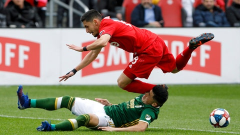 <p>               Toronto FC midfielder Marky Delgado (8) dives over Portland Timbers defender Jorge Moreira (2) as the two collide during first-half MLS soccer match action at BMO field in Toronto, Saturday, April 27, 2019. (Cole Burston/The Canadian Press via AP)             </p>