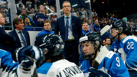 <p>               Finnish head coach Pasi Mustonen and players look dejected after their 2-1 shootout loss in the IIHF Women's Ice Hockey World Championships final match between the United States and Finland in Espoo, Finland, on  on Sunday, April 14, 2019. (Mikko Stig/Lehtikuva via AP)             </p>
