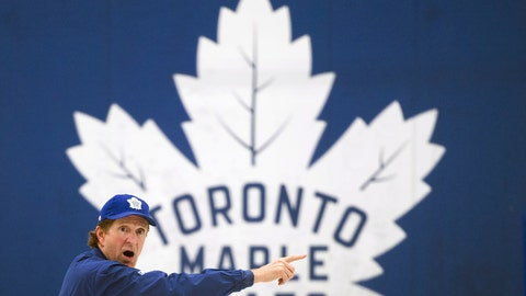 <p>               Toronto Maple Leafs NHL hockey team head coach Mike Babcock runs drills during practice in Toronto,Monday, April 8, 2019. The Maple Leafs take on the Boston Bruins in the first round of the Stanley Cup playoffs. (Nathan Denette/The Canadian Press via AP)             </p>