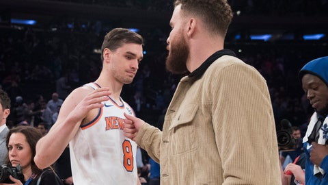 <p>               New York Knicks forward Mario Hezonja (8) greets Detroit Pistons forward Blake Griffin at the end of an NBA basketball game Wednesday, April 10, 2019, at Madison Square Garden in New York. The Pistons won 115-89. (AP Photo/Mary Altaffer)             </p>