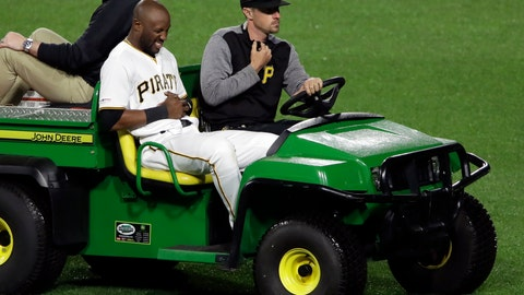 <p>               Pittsburgh Pirates center fielder Starling Marte is driven off the field after colliding with shortstop Erik Gonzalez while attempting to field a fly ball to short center by San Francisco Giants' Yangervis Solarte during the eighth inning of a baseball game in Pittsburgh, Friday, April 19, 2019. The Pirates won 4-1. (AP Photo/Gene J. Puskar)             </p>