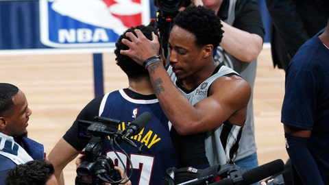 <p>               San Antonio Spurs guard DeMar DeRozan, right, hugs Denver Nuggets guard Jamal Murray after the second half of Game 7 of an NBA basketball first-round playoff series, Saturday, April 27, 2019, in Denver. The Nuggets won 90-86 to advance to the second round against Portland. (AP Photo/David Zalubowski)             </p>