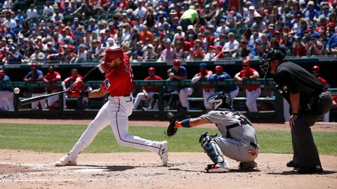 <p>               Texas Rangers' Joey Gallo hits a triple to drive in two runs as Houston Astros catcher Robinson Chorines and home plate umpire Hunter Wendelstedt look on during the first inning of a baseball game Sunday, April 21, 2019, in Arlington, Texas. (AP Photo/Mike Stone)             </p>