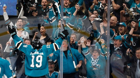 <p>               San Jose Sharks' Joe Thornton (19), celebrates after scoring goal against Colorado Avalanche in the second period of Game 1 of an NHL hockey second-round playoff series at the SAP Center in San Jose, Calif., on Friday, April 26, 2019. (AP Photo/Josie Lepe)             </p>