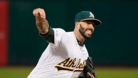 <p>               Oakland Athletics starting pitcher Mike Fiers (50) throws against the Boston Red Sox during the first inning of a baseball game in Oakland, Calif., Tuesday, April 2, 2019. (AP Photo/Tony Avelar)             </p>