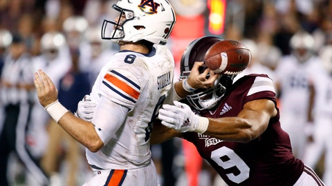 <p>               FILE - In this Oct. 6, 2018, file photo, Mississippi State defensive end Montez Sweat (9) forces Auburn quarterback Jarrett Stidham (8) to fumble as he attempts to pass during the second half of an NCAA college football game in Starkville, Miss. Sweat is a possible pick in the 2019 NFL Draft.  (AP Photo/Rogelio V. Solis, File)             </p>