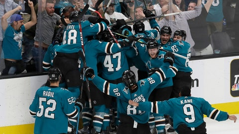 <p>               San Jose Sharks players celebrate after defeating the Vegas Golden Knights in Game 7 of an NHL hockey first-round playoff series in San Jose, Calif., Tuesday, April 23, 2019. The Sharks won 5-4 in overtime. (AP Photo/Jeff Chiu)             </p>