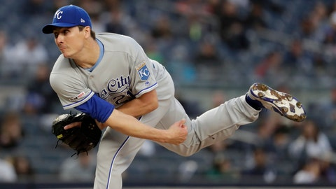 <p>               Kansas City Royals starting pitcher Homer Bailey watches a throw to a New York Yankees batter during the second inning of a baseball game Thursday, April 18, 2019, in New York. (AP Photo/Julio Cortez)             </p>