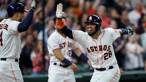 <p>               Houston Astros' Robinson Chirinos (28) celebrates with George Springer (4) after hitting a three-run home run against the Cleveland Indians during the seventh inning of a baseball game Sunday, April 28, 2019, in Houston. (AP Photo/David J. Phillip)             </p>