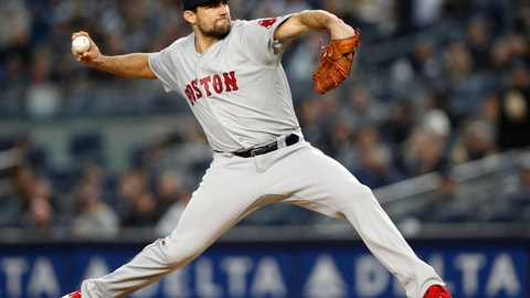 <p>               Boston Red Sox starting pitcher Nathan Eovaldi winds up during the fourth inning of a  baseball game against the New York Yankees, Wednesday, April 17, 2019, in New York. (AP Photo/Kathy Willens)             </p>