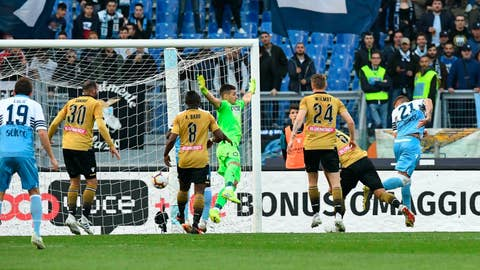 <p>               Udinese's Sandro, second from left, scores an own goal during the Italian Serie A soccer match between Lazio and Udinese at the Olympic stadium in Rome, Italy, Wednesday, April 17, 2019. (Alessandro Di Meo/ANSA via AP)             </p>