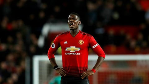 <p>               Manchester United's Paul Pogba reacts during the English Premier League soccer match between Manchester United and Manchester City at Old Trafford Stadium in Manchester, England, Wednesday April 24, 2019.(Martin Rickett, PA via AP)             </p>
