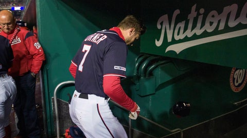 <p>               Washington Nationals' Trea Turner heads to the clubhouse after a pitch hit his hand while batting during the first inning of a baseball game against the Philadelphia Phillies at Nationals Park, Tuesday, April 2, 2019, in Washington. (AP Photo/Alex Brandon)             </p>