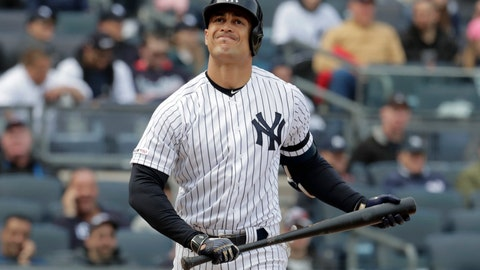 <p>               New York Yankees' Giancarlo Stanton reacts after striking out to Baltimore Orioles relief pitcher Paul Fry during the eighth inning of an opening day baseball game at Yankee Stadium, Thursday, March 28, 2019, in New York. The Yankees won 7-2. (AP Photo/Julio Cortez)             </p>