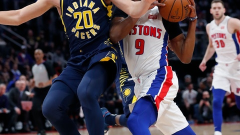 <p>               Detroit Pistons guard Langston Galloway (9) drives around Indiana Pacers forward Doug McDermott (20) during the first half of an NBA basketball game, Wednesday, April 3, 2019, in Detroit. (AP Photo/Carlos Osorio)             </p>