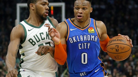 <p>               Oklahoma City Thunder's Russell Westbrook drives to the basket against Milwaukee Bucks' Sterling Brown during the first half of an NBA basketball game Wednesday, April 10, 2019, in Milwaukee. (AP Photo/Aaron Gash)             </p>