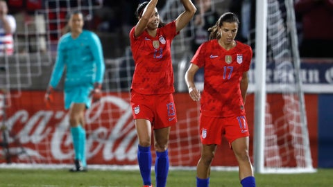 <p>               United States forward Alex Morgan, left, gestures to the crowd after scoring a goal as forward Tobin Heath heads down the pitch during the first half of a friendly soccer match against Australia Thursday, April 4, 2019, in Commerce City, Colo. (AP Photo/David Zalubowski)             </p>