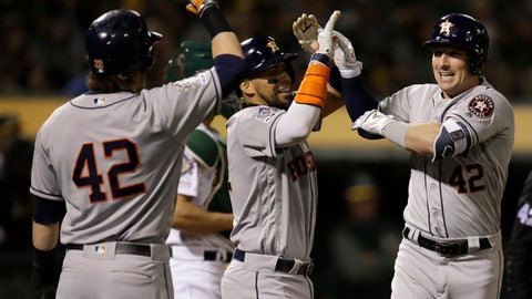 <p>               Houston Astros' Alex Bregman celebrates after hitting a grand slam off Oakland Athletics relief pitcher Liam Hendriks in the fourth inning of a baseball game, Tuesday, April 16, 2019, in Oakland, Calif. (AP Photo/Ben Margot)             </p>