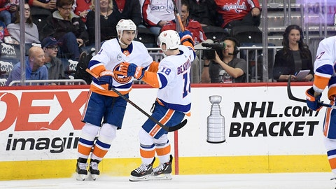 <p>               New York Islanders center Valtteri Filppula, left, of Finland, celebrates his goal with left wing Anthony Beauvillier, right, during the second period of an NHL hockey game against the Washington Capitals, Saturday, April 6, 2019, in Washington. (AP Photo/Nick Wass)             </p>