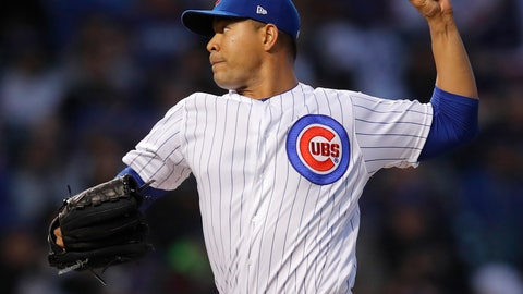 <p>               Chicago Cubs' Jose Quintana pitches against the Los Angeles Dodgers during the second inning of a baseball game Tuesday, April 23, 2019, in Chicago. (AP Photo/Jim Young)             </p>