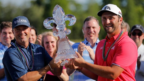 <p>               Ryan Palmer, left, and Joh Rahm hold their tournament trophy after winning the PGA Zurich Classic golf tournament at TPC Louisiana in Avondale, La., Sunday, April 28, 2019. (AP Photo/Gerald Herbert)             </p>