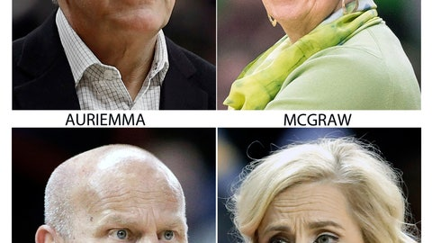 <p>               FILE - These are 2018 file photos showing the coaches for the NCAA women's Final Four teams. Geno Auriemma, UConn; Muffet McGraw, Notre Dame; Kelly Graves, Oregon and Kim Mulkey, Baylor. (AP Photo/File)             </p>