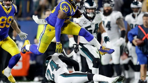 <p>               FILE - In this Dec. 16, 2018, file photo Los Angeles Rams running back Todd Gurley runs against the Philadelphia Eagles during the first half in an NFL football game in Los Angeles. Gurley still is not shedding much light on the injured knee that limited him down the stretch with the Rams. He was in camp for the opening of the Rams' offseason program Monday, April 15, 2019, in their first team activities since their Super Bowl loss to New England. (AP Photo/Marcio Jose Sanchez, File)             </p>