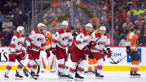 <p>               Carolina Hurricanes' Jordan Staal (11) celebrates his goal with teammates during the second period of an NHL hockey game against the Philadelphia Flyers, Saturday, April 6, 2019, in Philadelphia. (AP Photo/Chris Szagola)             </p>