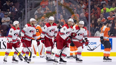 <p>               Carolina Hurricanes' Jordan Staal (11) celebrates his goal with teammates during the second period of an NHL hockey game against the Philadelphia Flyers, Saturday, April 6, 2019, in Philadelphia. (AP Photo/Chris Szagola)             </p>